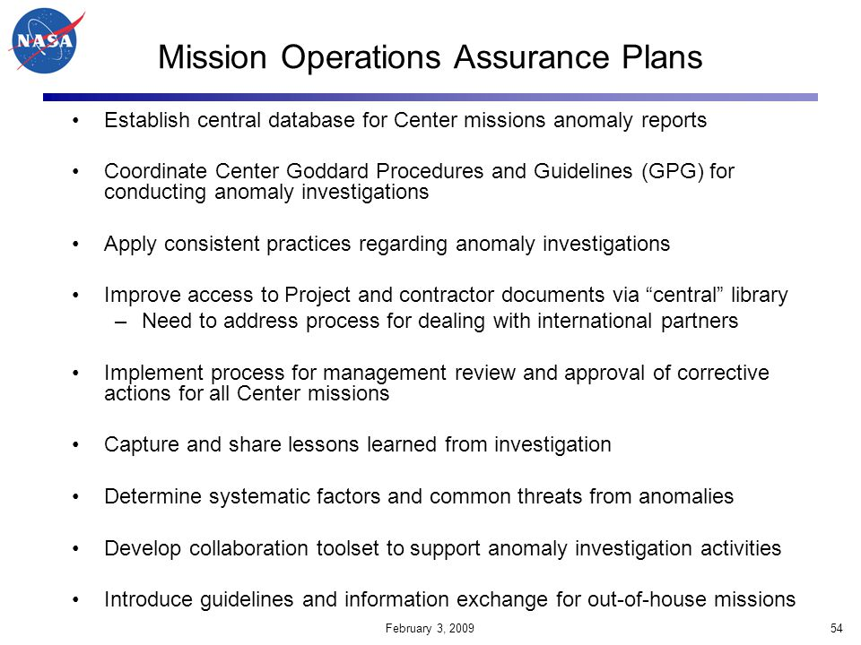 Mission Operations Assurance Plans