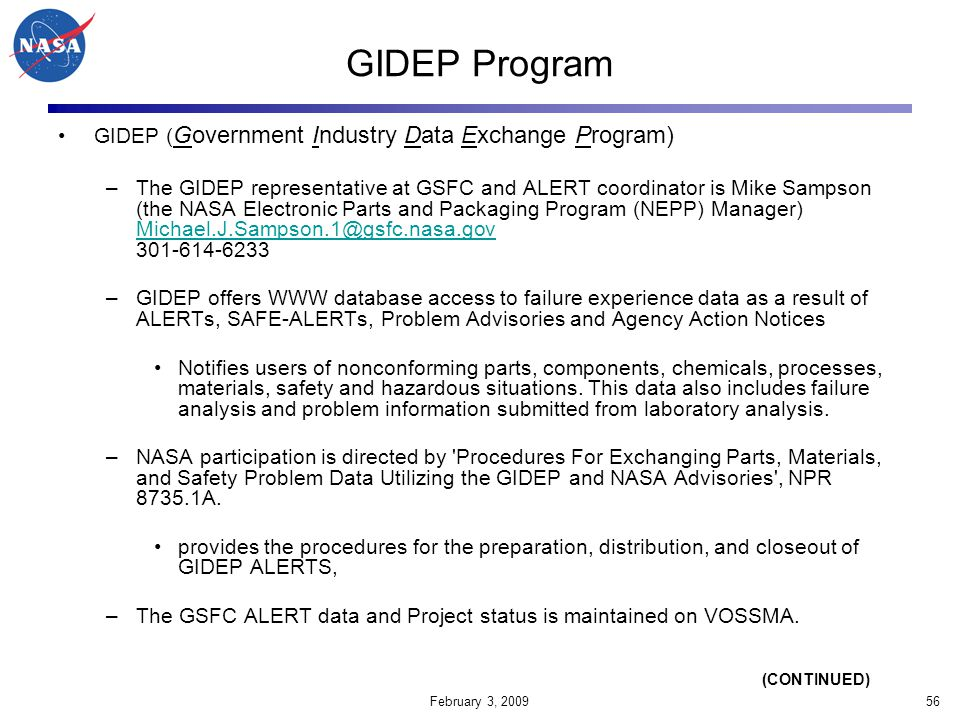 GIDEP Program GIDEP (Government Industry Data Exchange Program)