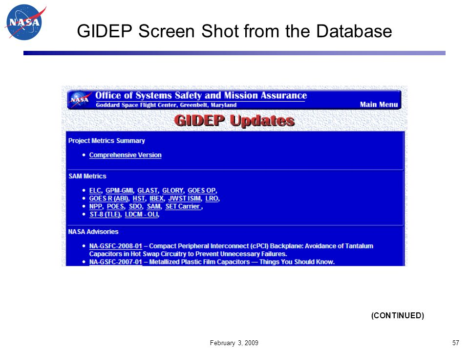 GIDEP Screen Shot from the Database
