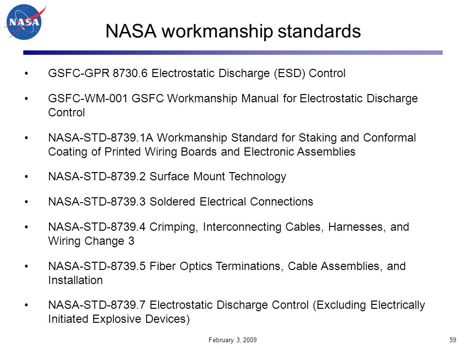 NASA workmanship standards