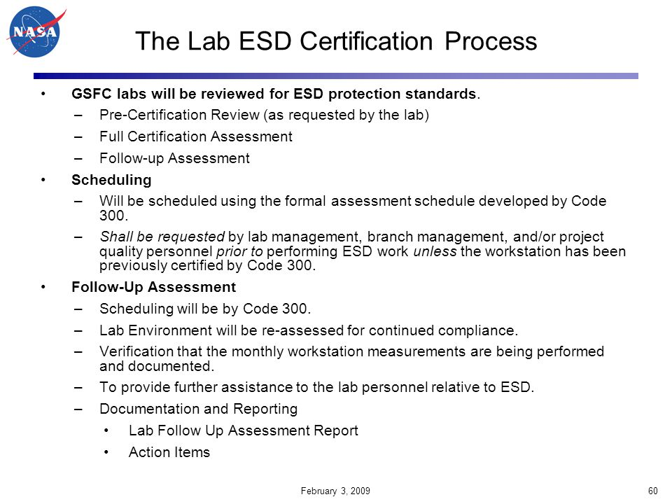 The Lab ESD Certification Process