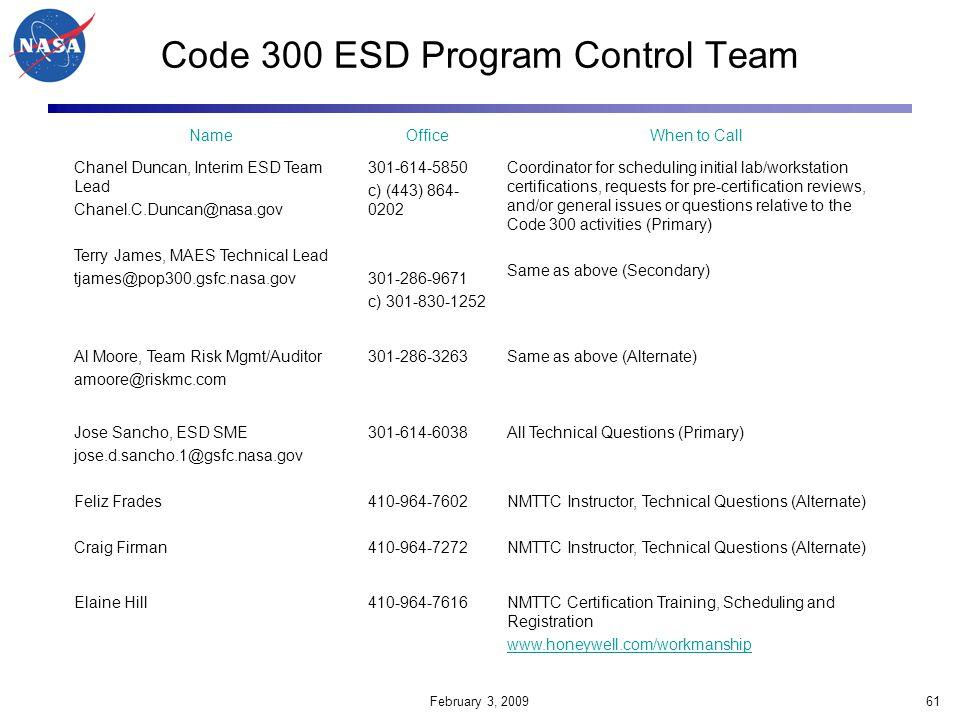 Code 300 ESD Program Control Team