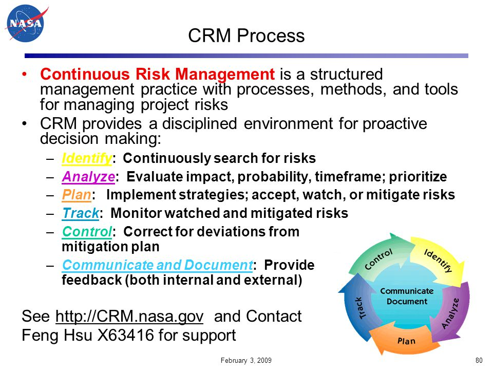CRM Process Continuous Risk Management is a structured management practice with processes, methods, and tools for managing project risks.