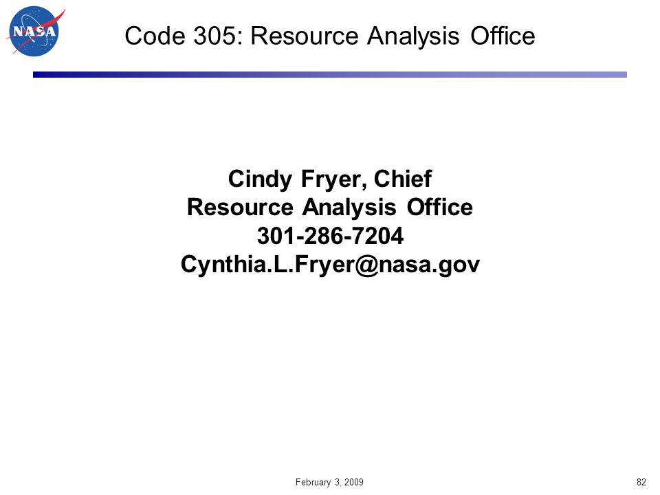Code 305: Resource Analysis Office