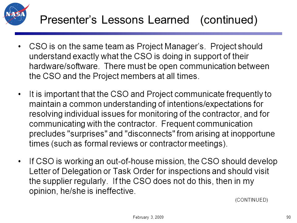 Presenter's Lessons Learned (continued)