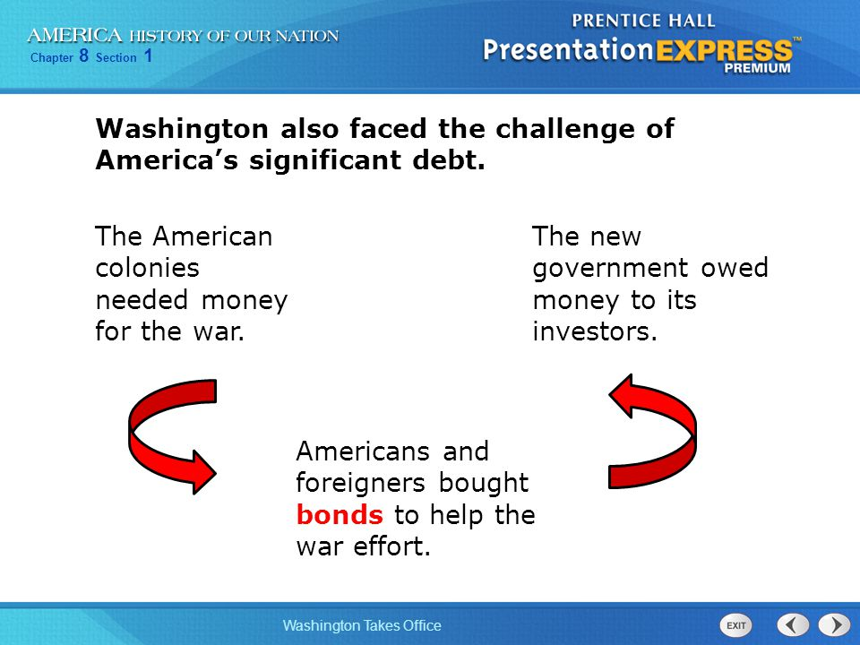 Washington also faced the challenge of America's significant debt.