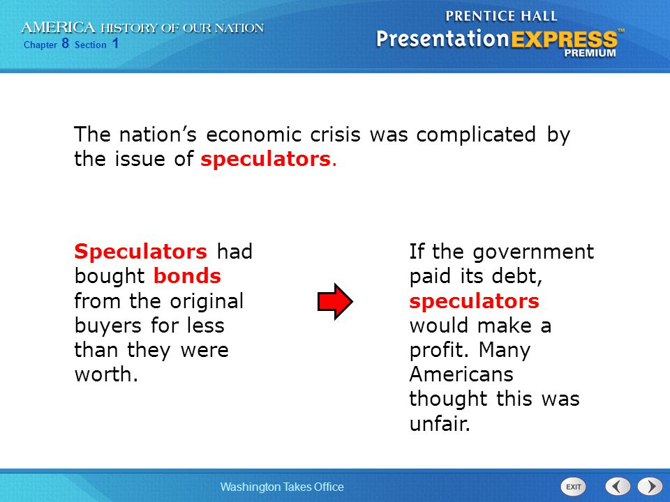 The nation's economic crisis was complicated by the issue of speculators.