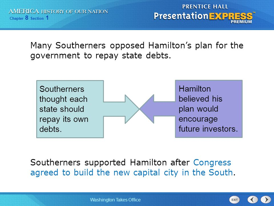 Many Southerners opposed Hamilton's plan for the government to repay state debts.
