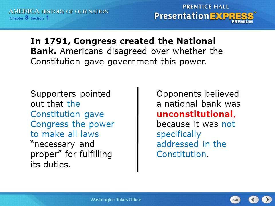 In 1791, Congress created the National Bank