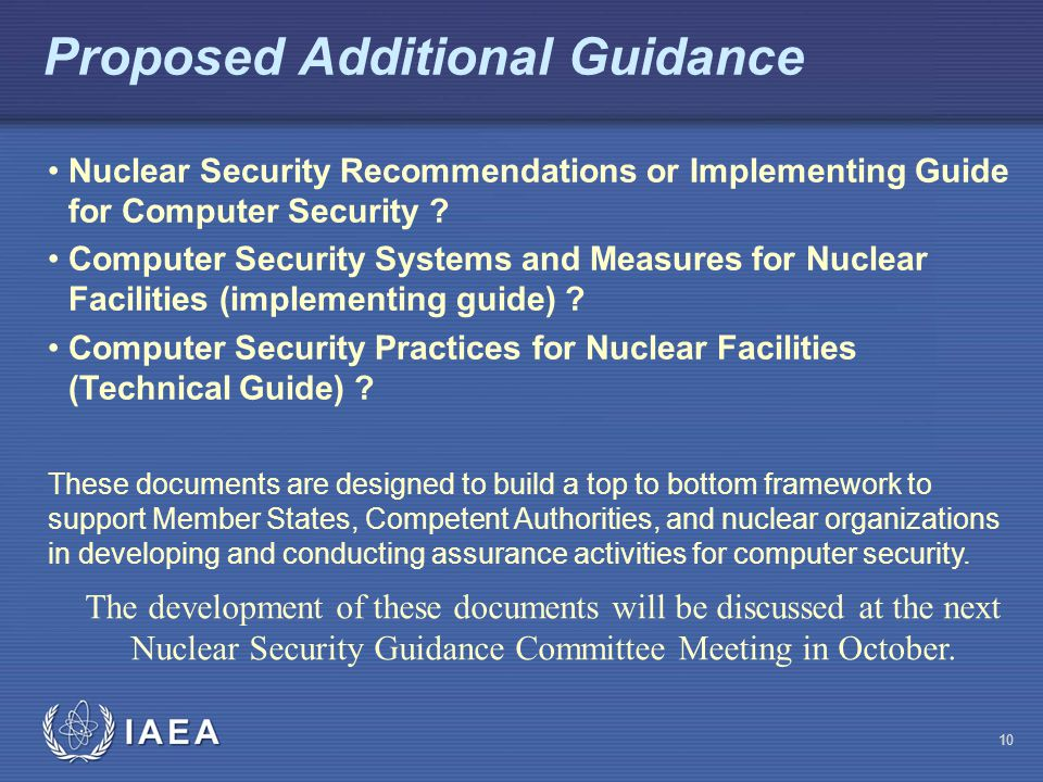 Proposed Additional Guidance