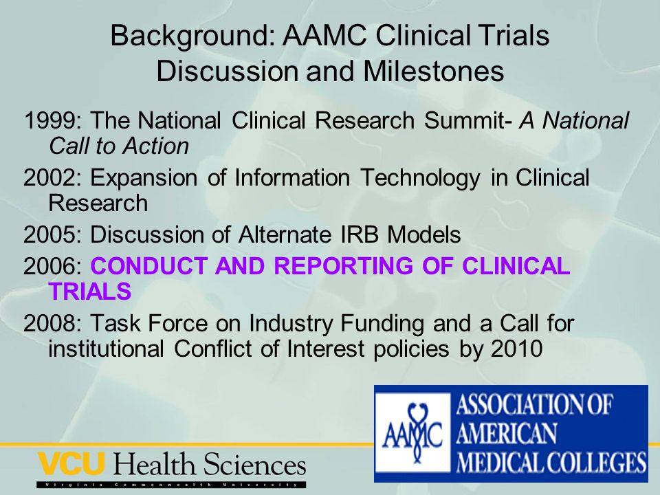 Background: AAMC Clinical Trials Discussion and Milestones
