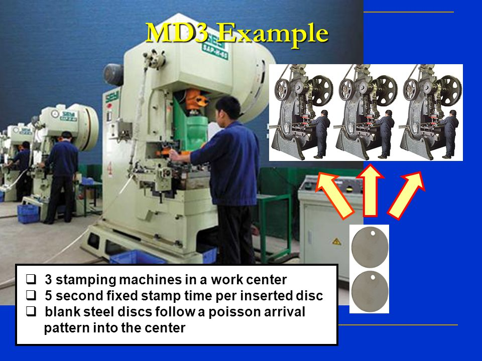 MD3 Example 3 stamping machines in a work center