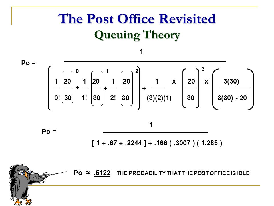The Post Office Revisited Queuing Theory