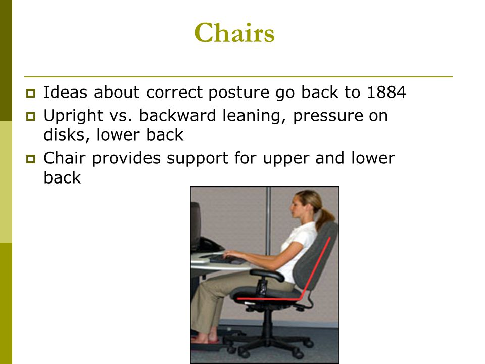 Chairs Ideas about correct posture go back to 1884