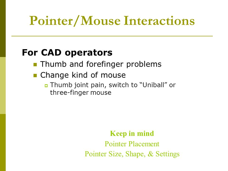 Pointer/Mouse Interactions