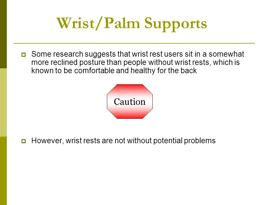 Wrist/Palm Supports Caution