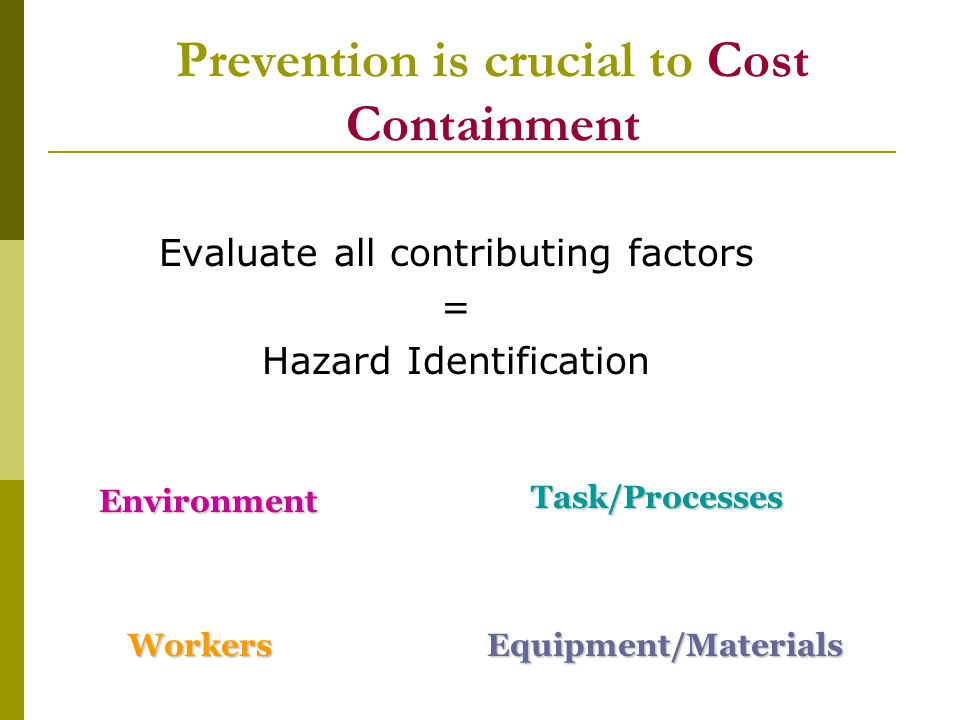 Prevention is crucial to Cost Containment