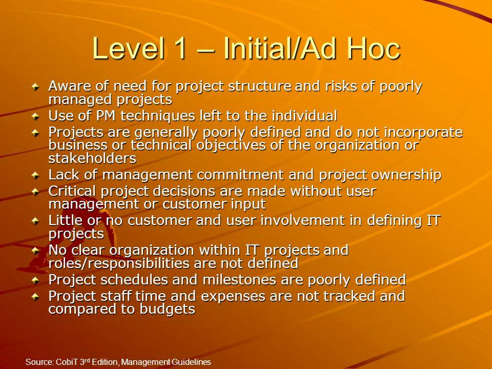 Level 1 – Initial/Ad Hoc Aware of need for project structure and risks of poorly managed projects. Use of PM techniques left to the individual.