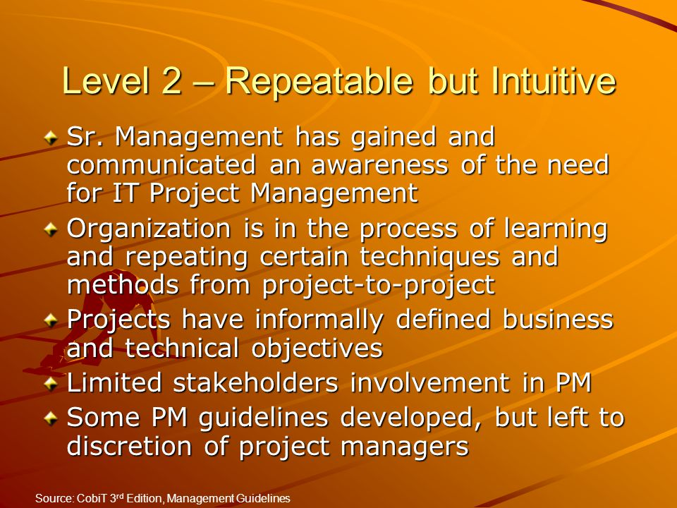 Level 2 – Repeatable but Intuitive