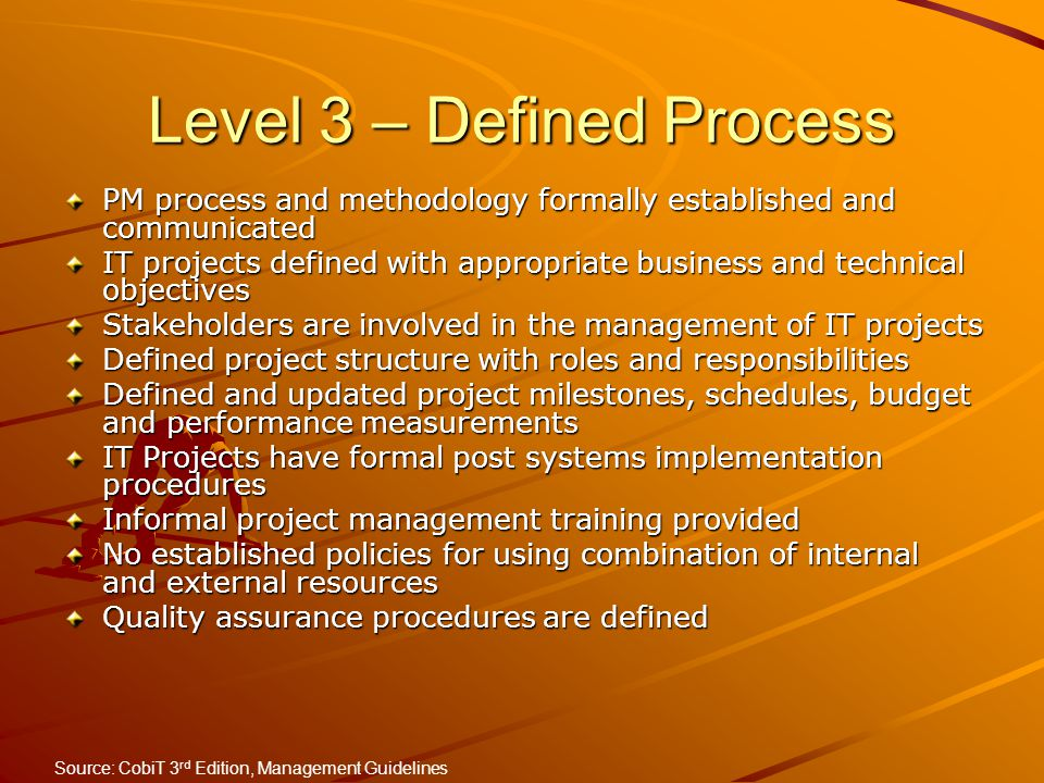 Level 3 – Defined Process
