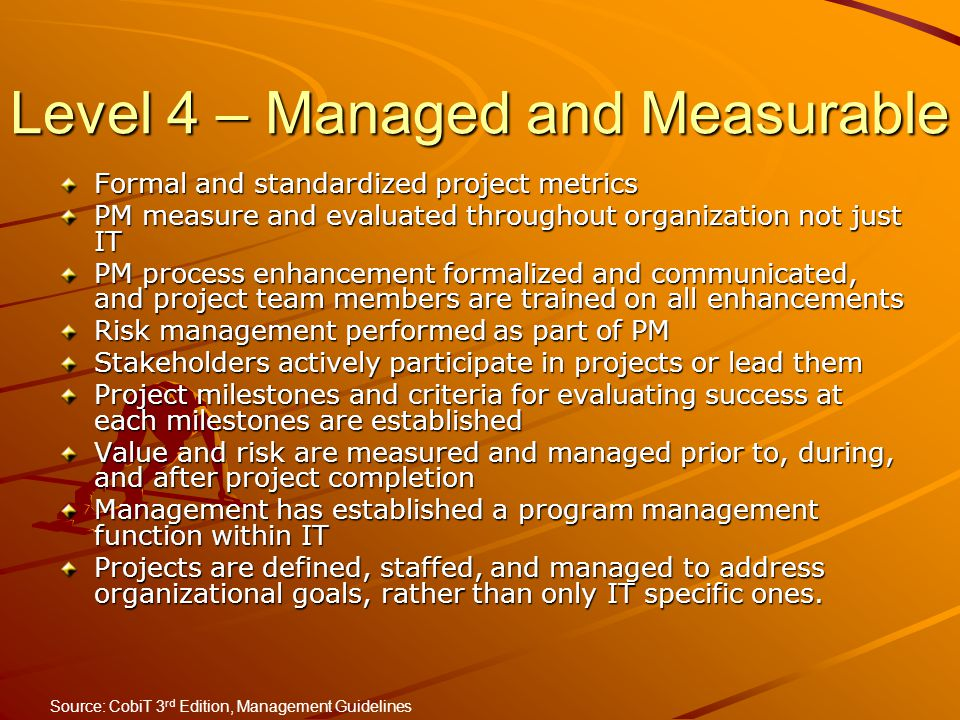 Level 4 – Managed and Measurable