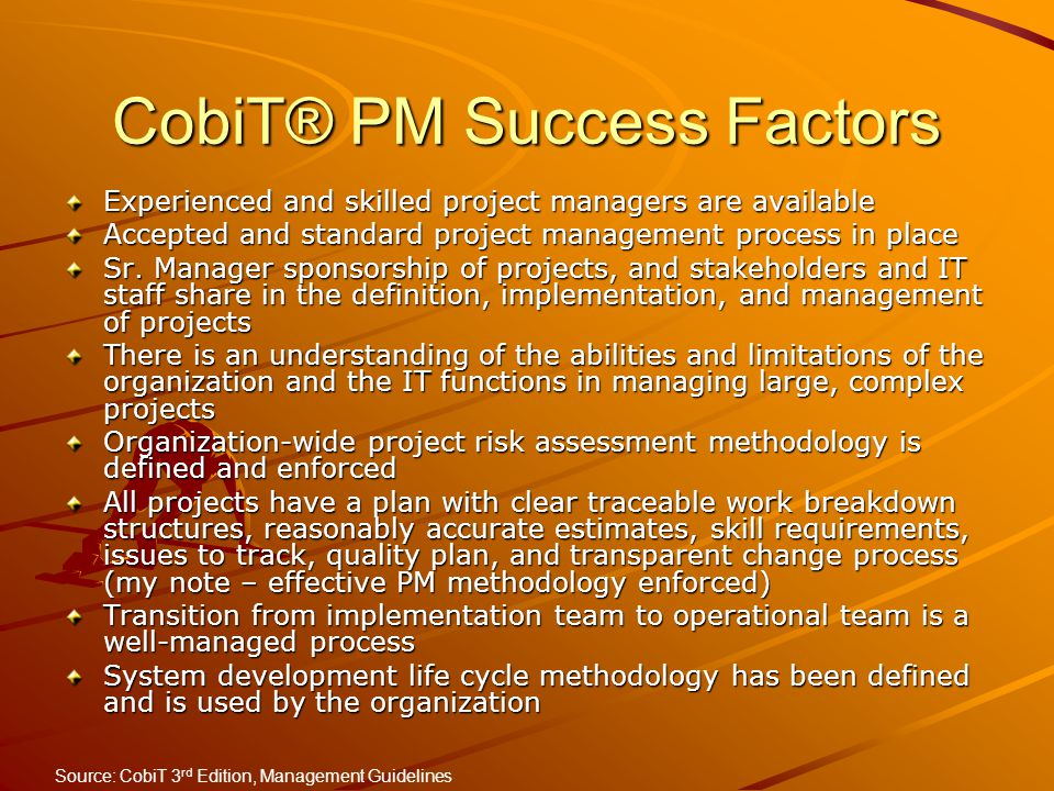 CobiT® PM Success Factors