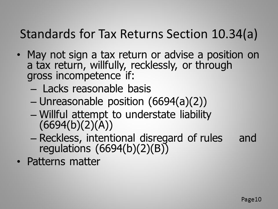 Standards for Tax Returns Section 10.34(a)