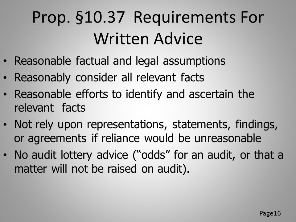 Prop. §10.37 Requirements For Written Advice