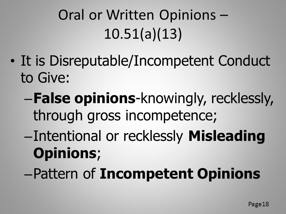 Oral or Written Opinions – 10.51(a)(13)