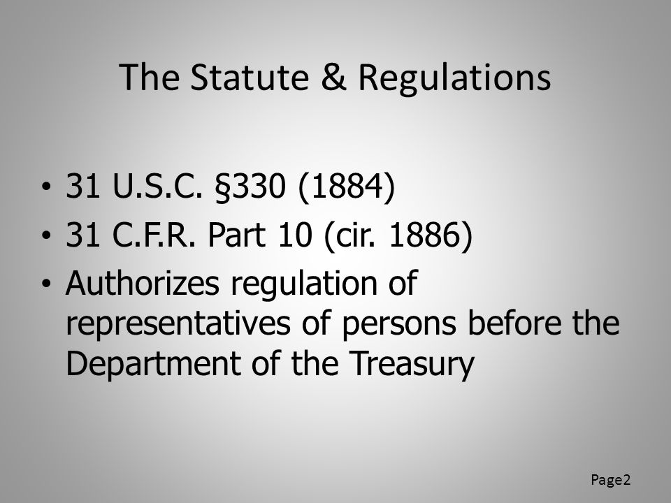 The Statute & Regulations