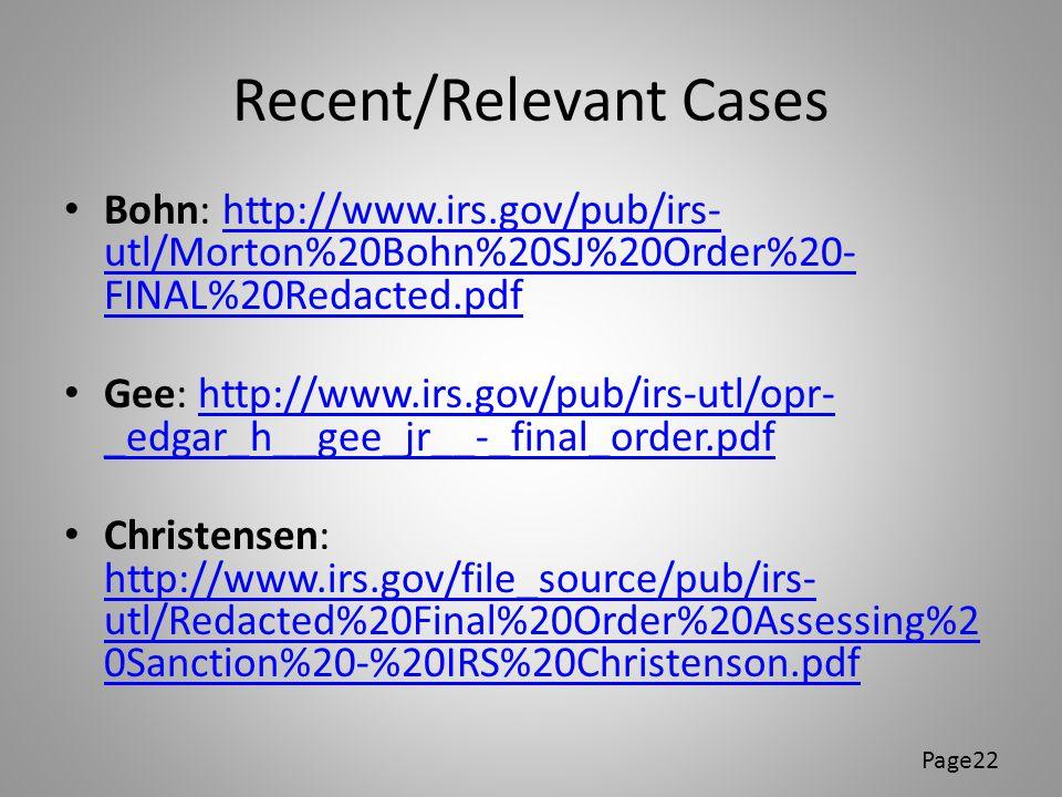 Recent/Relevant Cases