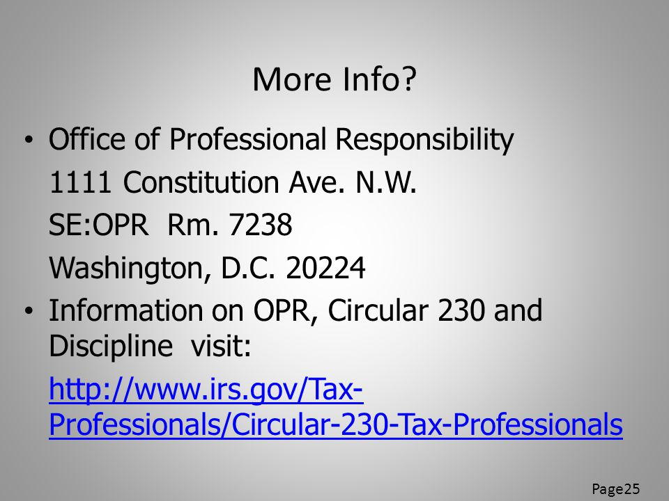 More Info Office of Professional Responsibility