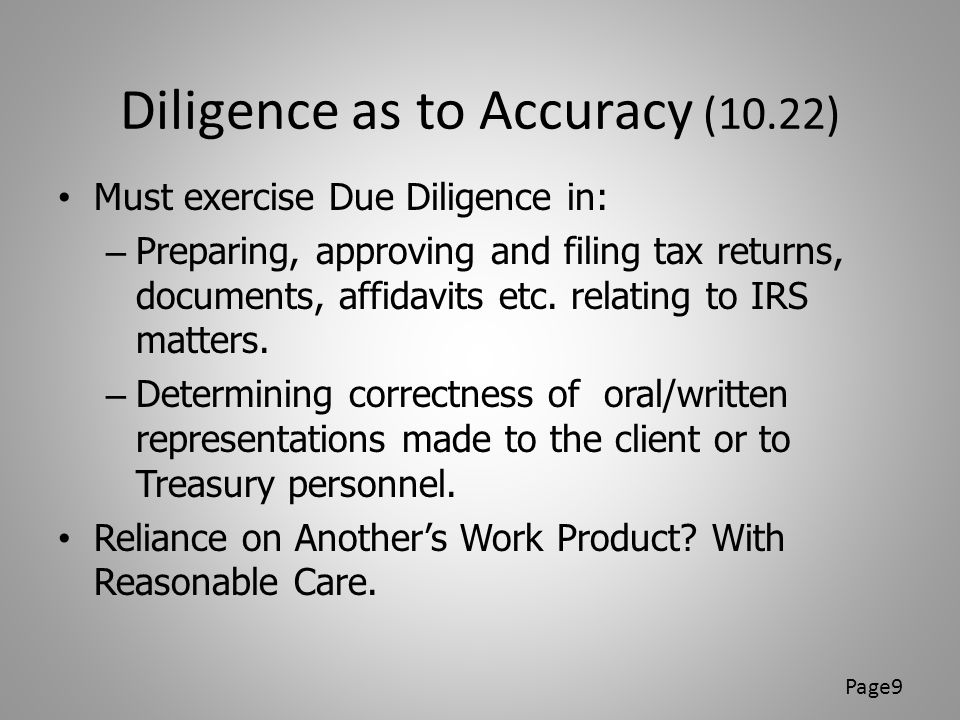 Diligence as to Accuracy (10.22)
