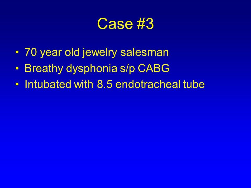 Case #3 70 year old jewelry salesman Breathy dysphonia s/p CABG