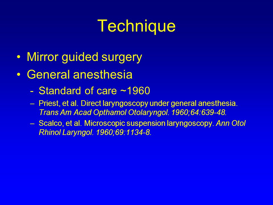 Technique Mirror guided surgery General anesthesia