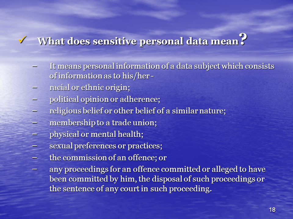 What does sensitive personal data mean