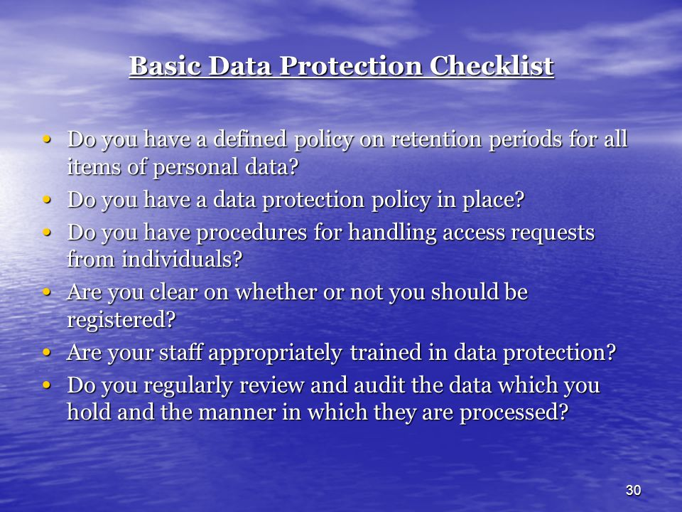 Basic Data Protection Checklist