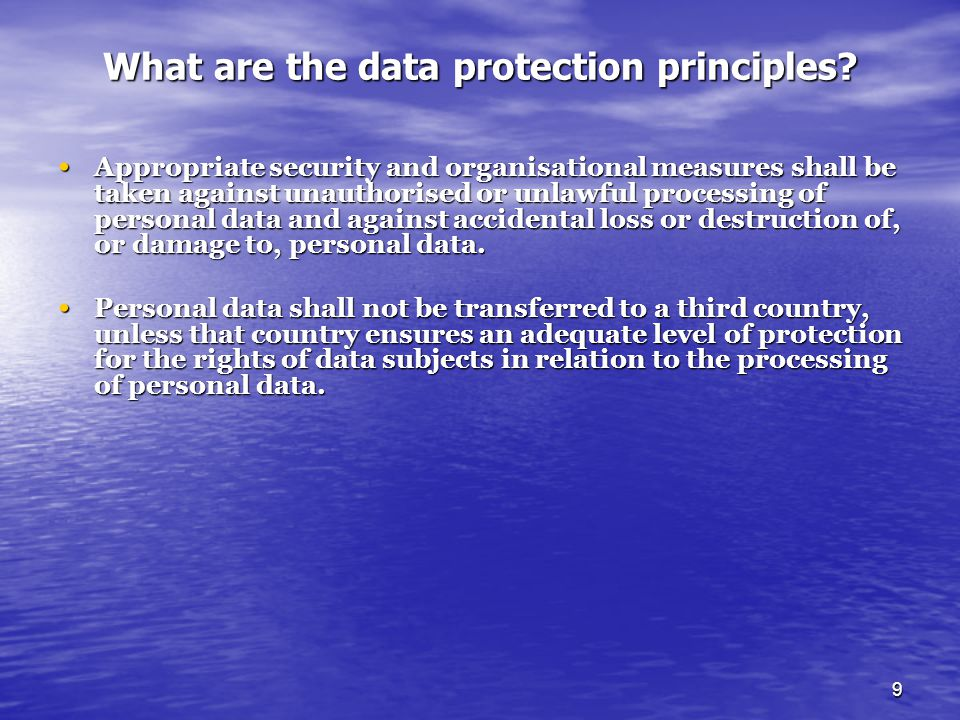What are the data protection principles
