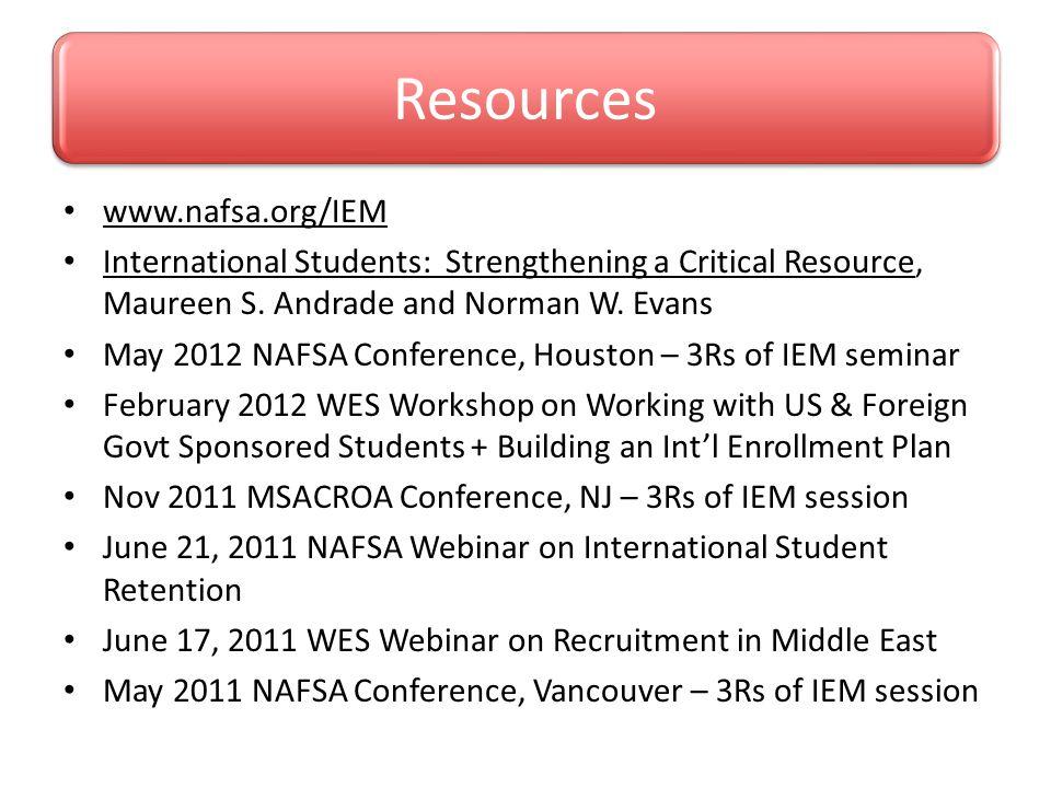 Resources www.nafsa.org/IEM
