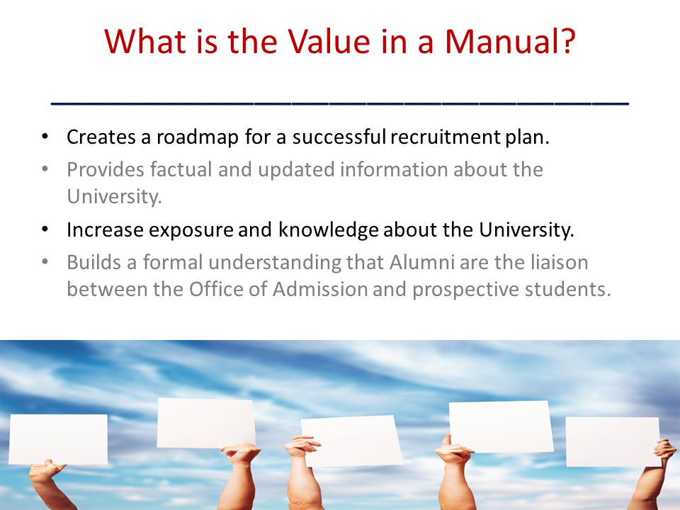 What is the Value in a Manual _______________________________