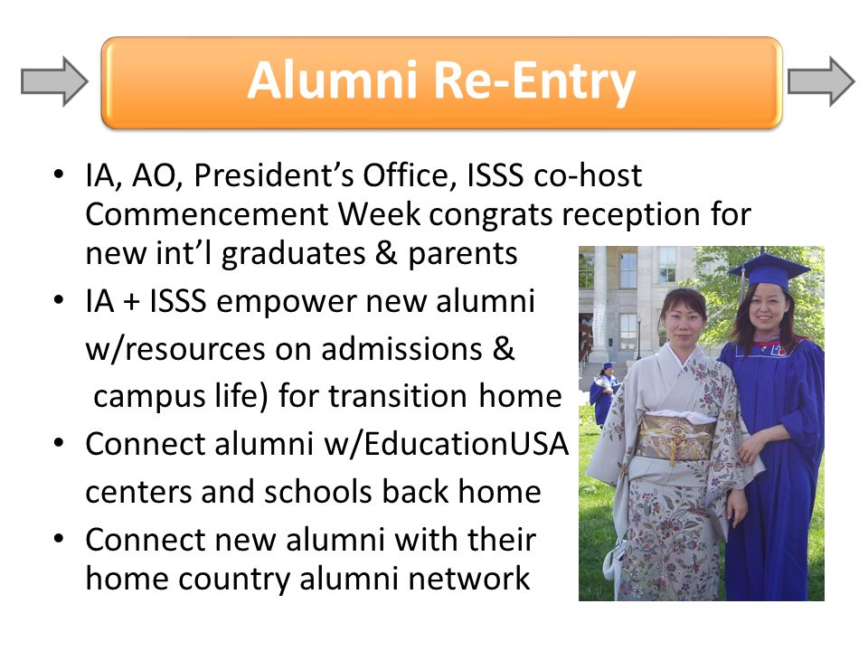 Alumni Re-Entry IA, AO, President's Office, ISSS co-host Commencement Week congrats reception for new int'l graduates & parents.