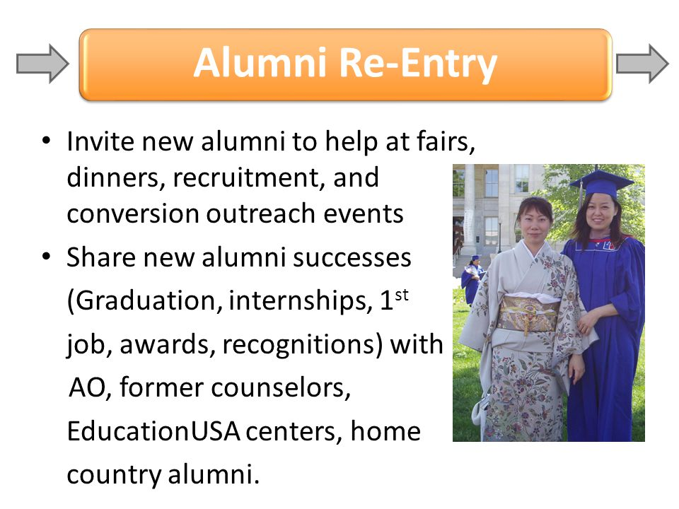 Alumni Re-Entry Invite new alumni to help at fairs, dinners, recruitment, and conversion outreach events.