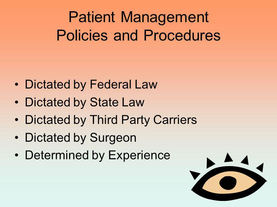 Patient Management Policies and Procedures