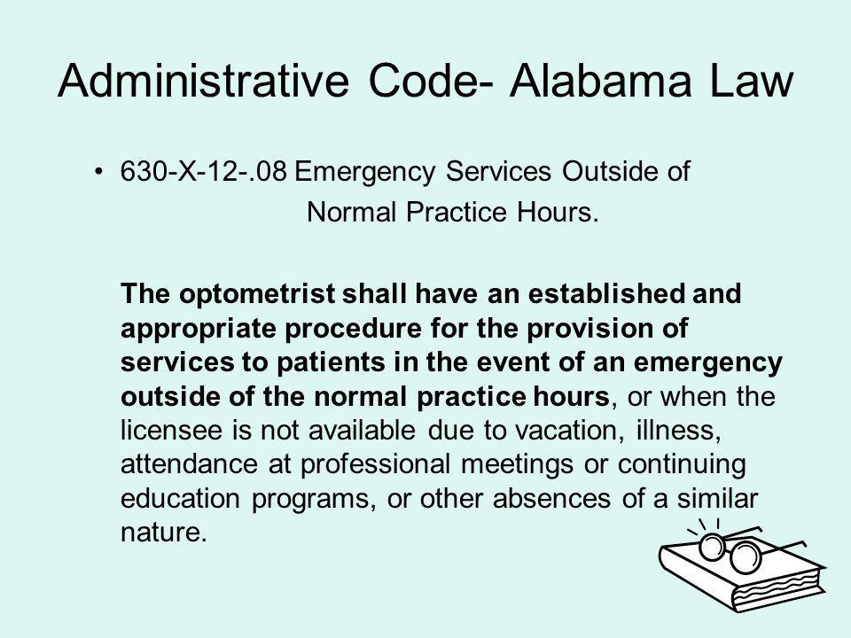 Administrative Code- Alabama Law