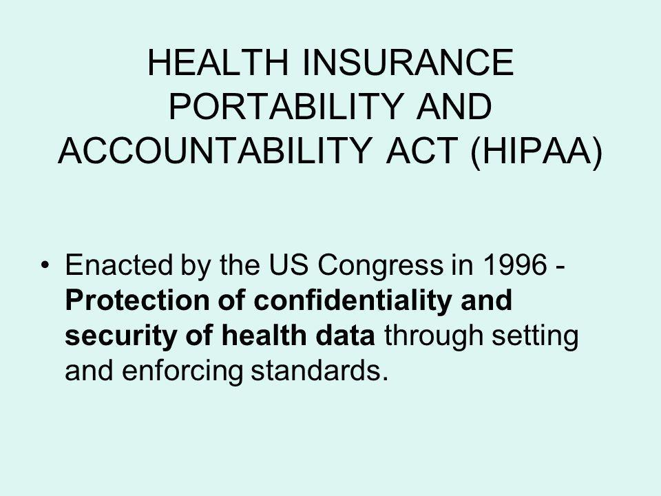 HEALTH INSURANCE PORTABILITY AND ACCOUNTABILITY ACT (HIPAA)