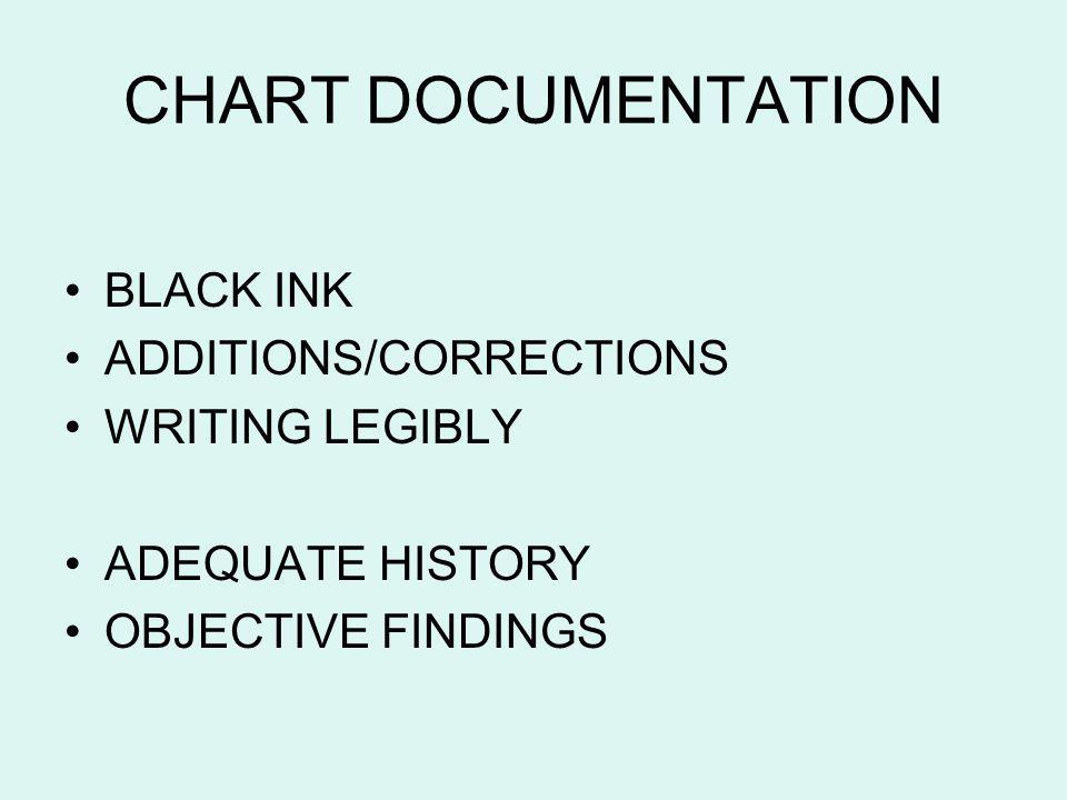 CHART DOCUMENTATION BLACK INK ADDITIONS/CORRECTIONS WRITING LEGIBLY