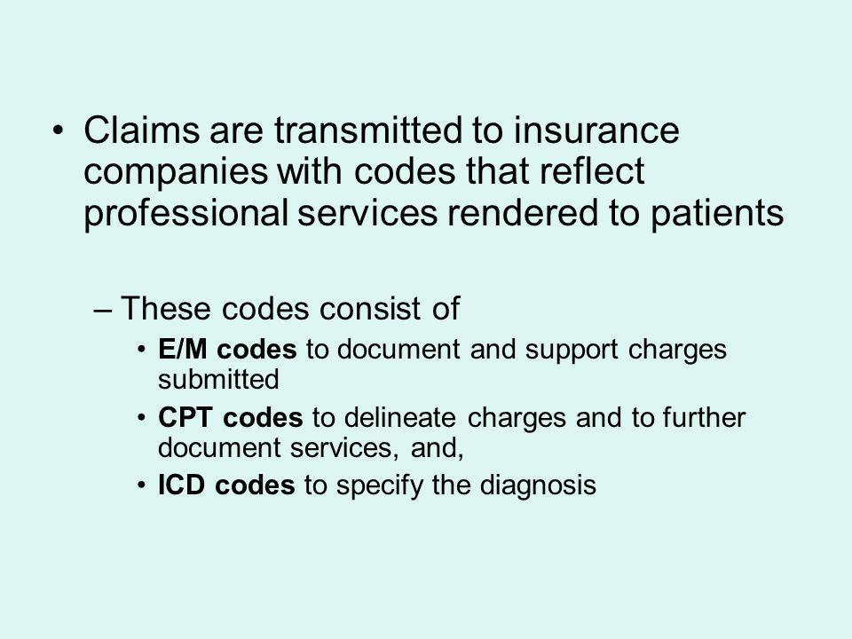 Claims are transmitted to insurance companies with codes that reflect professional services rendered to patients