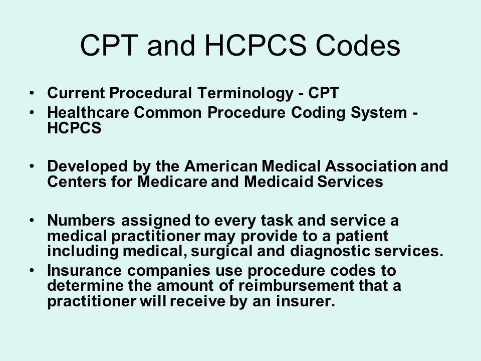 CPT and HCPCS Codes Current Procedural Terminology - CPT