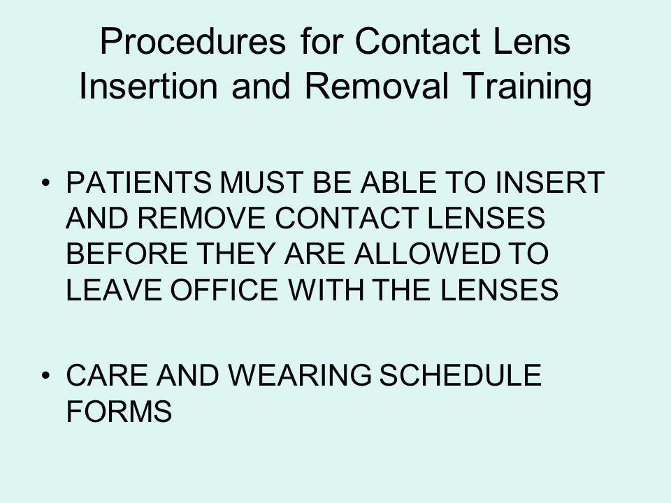 Procedures for Contact Lens Insertion and Removal Training