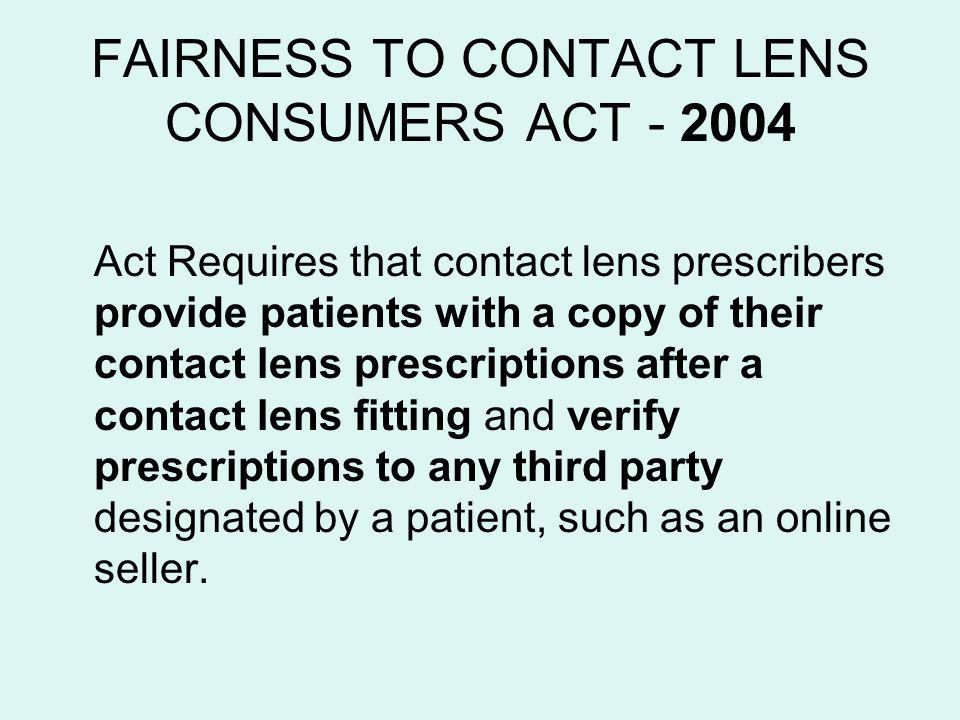 FAIRNESS TO CONTACT LENS CONSUMERS ACT - 2004
